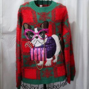 Sweaters - Ugly Christmas Sweater, Lady Bling Dog NWT